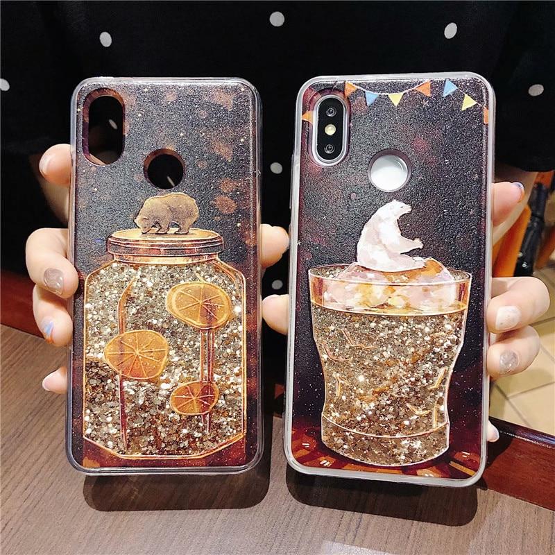 For Huawei V10 V20 P20 P30 Nova 3 3i 4 5 5i Liquid Shining Cute Catoon Pattern Case For Honor 10 9 8X 7X 20 Lite Glitter Cover