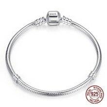 Grande vente bijoux faits à la main en argent Sterling 925 Bracelet à breloques Bracelet doux lisse serpent os Bracelets pour femme bijoux à bricoler soi-même