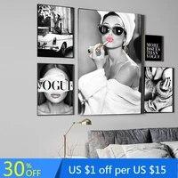 Decor a la maison affiche de mode Art mural impression noir et blanc toile peinture Vogue femme photos pour salon mode Vintage