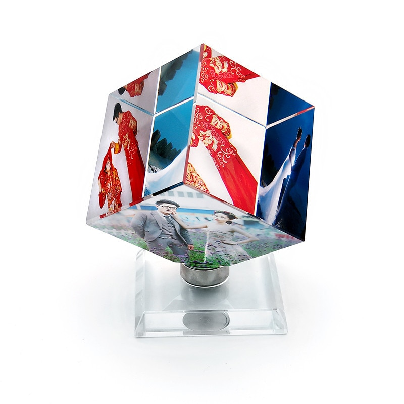 Купить с кэшбэком Pictures Frame Square Shaped Rotating Crystal Printing Photo Album Glass Wedding Souvenir Birthday Gifts 3 Customized Photo