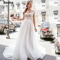 booma v neck sleeveless beach wedding dresses boho lace appliqued bride dress open back white tulle bridal gown with court train