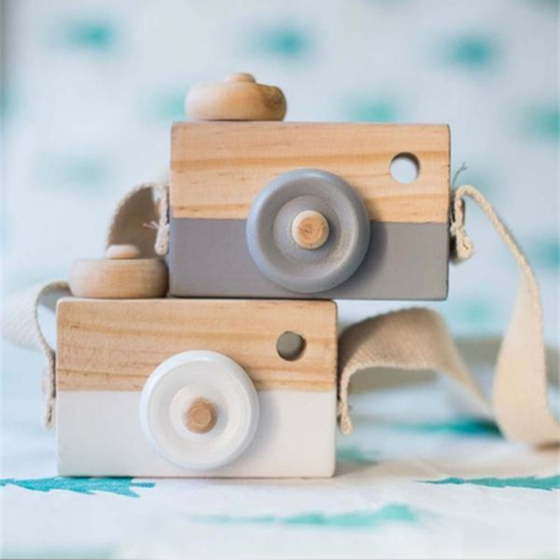 Cute Nordic Hanging Wooden Camera Toys Kids Toy Gift 9.5*6*3cm Room Decor Furnishing Articles Wooden