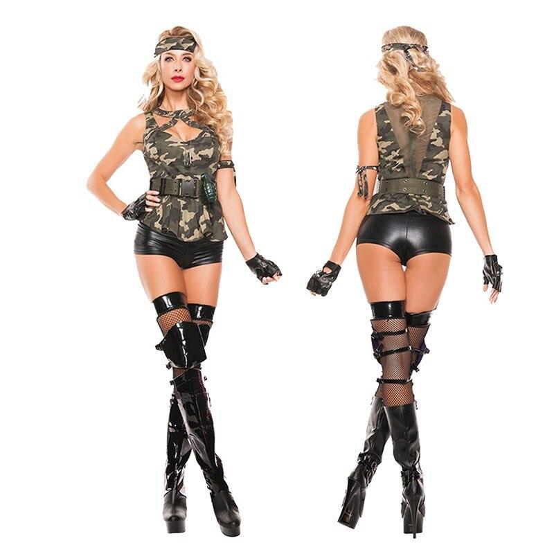 Venda quente do exército feminino militar cosplay uniforme campo cs ternos de treinamento festa de halloween sexy camuflagem soldado traje