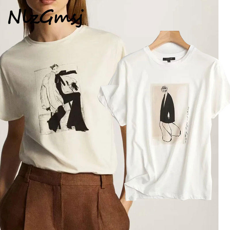 2020 Inglaterra high street vintage moda para chicas cuello redondo algodón verano camiseta mujeres harajuku ZA camiseta camisetas verano mujer vadim