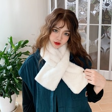 Winter Furry Scarf Women Student Solid Color Thermal Plush Bib Cold Outdoor Clothing Accessories
