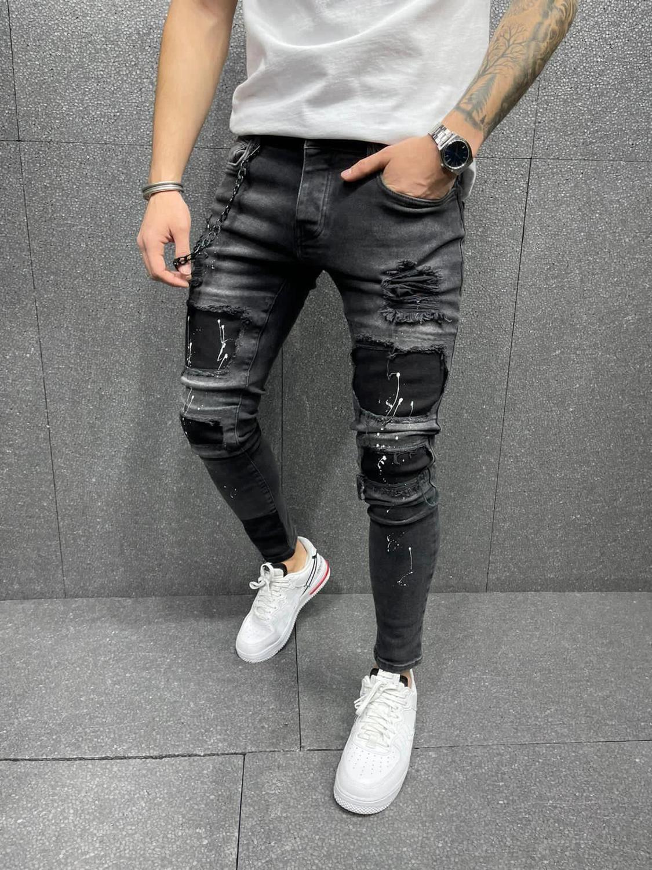 2021 узкие джинсы, мужские рваные джинсы, Стрейчевые джинсы на молнии в стиле хип-хоп, повседневные мужские джинсы