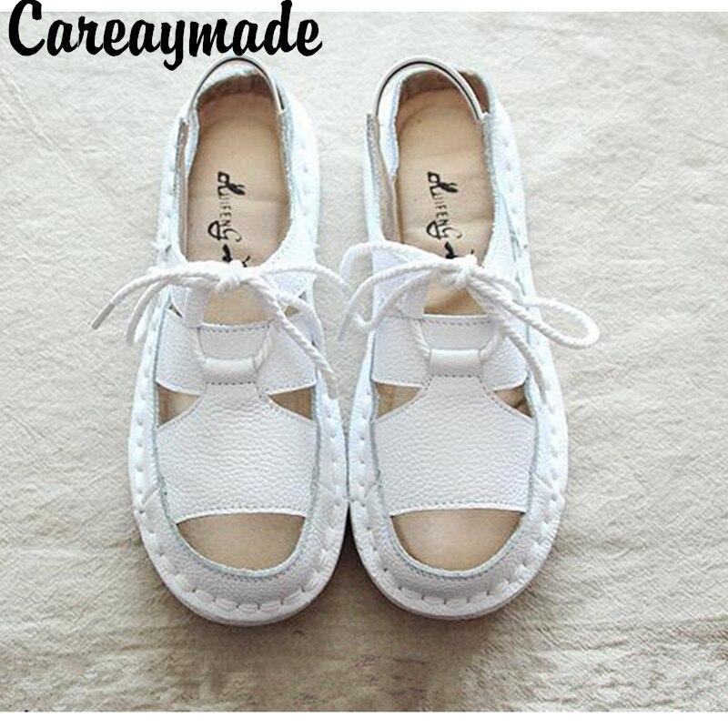 ¡Novedad de verano! Sandalias de piel auténtica de estilo retro de Careaymade, zapatos de ocio transpirables de fondo plano para mujer, 3 colores
