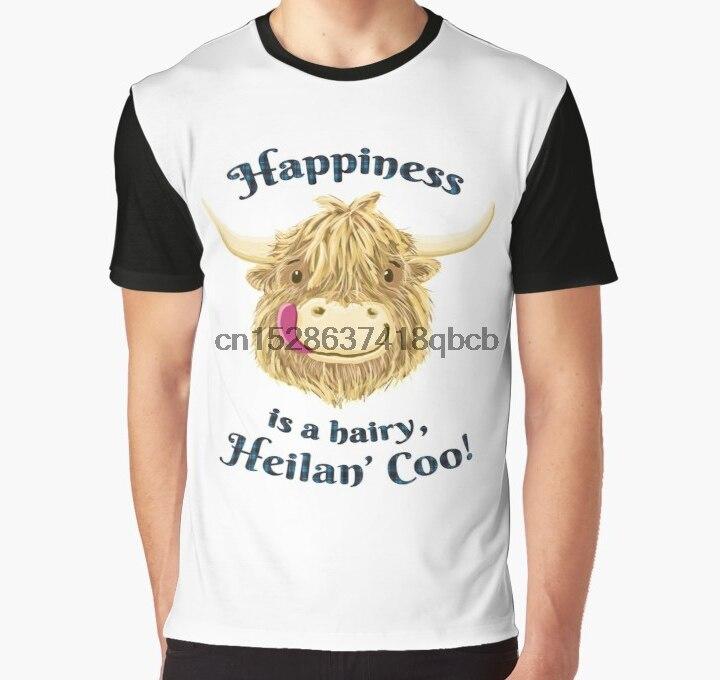 Camiseta estampada para hombre Wee Hamish, camiseta escocesa de vaca de las montañas Happiness tartán, estampado grande, camiseta gráfica para mujer