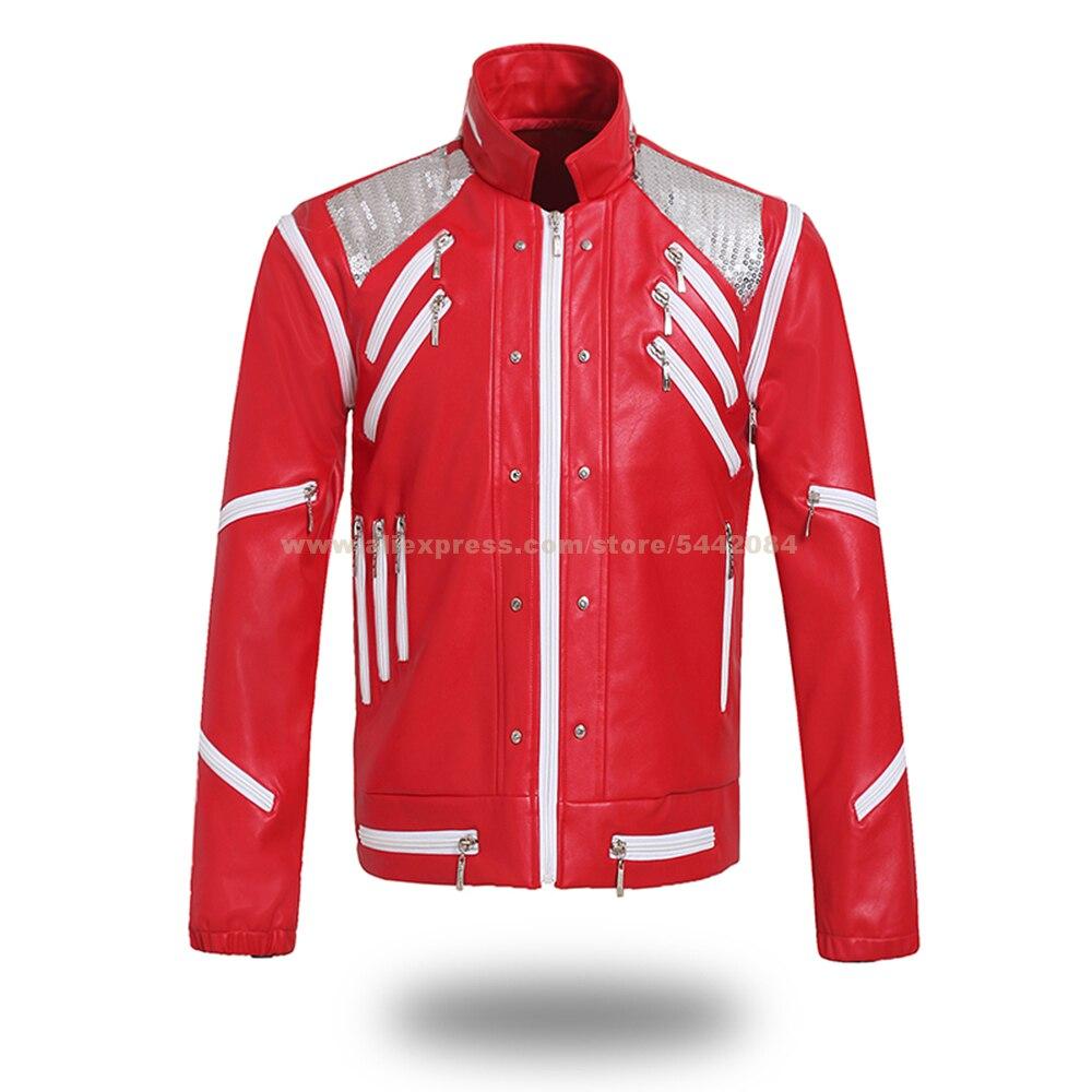 MJ Michael Jackson-جاكيت ، معطف Beat It Punk مع سحاب أحمر ، مجموعة ملابس خارجية للحفلات التنكرية ، إكسسوار تقليد #05BEATD01