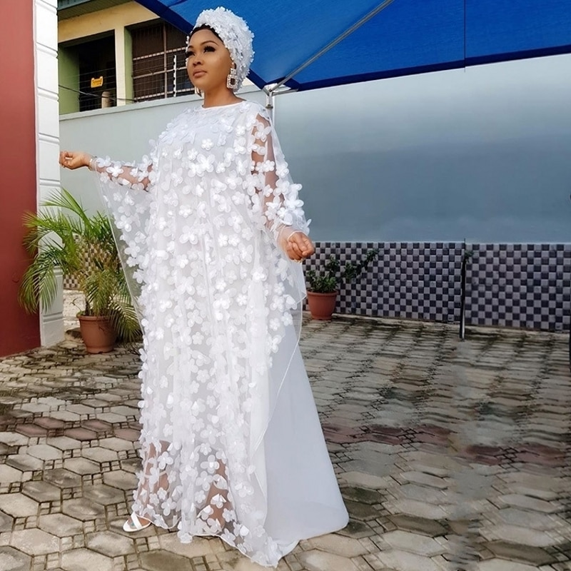 Vestido africano blanco sin pañuelo para la cabeza para mujer vestido largo bordado suelto Dashiki de moda para mujeres africanas