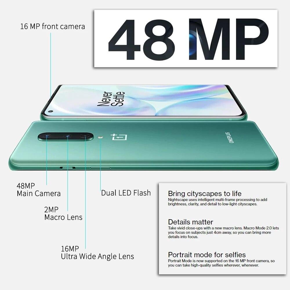 Фото2 - OnePlus 8 5G смартфоны с Snapdragon 865 8ГБ 12ГБ ОЗУ 6,55 дюймовым AMOLED экраном и 90 Гц Сверхвысокой частотой обновления телефоны с 48Мп Тройной камерой и бата...