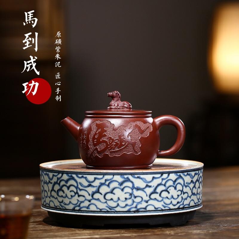Yixing-إبريق شاي من الطين الأرجواني ومجموعة شاي