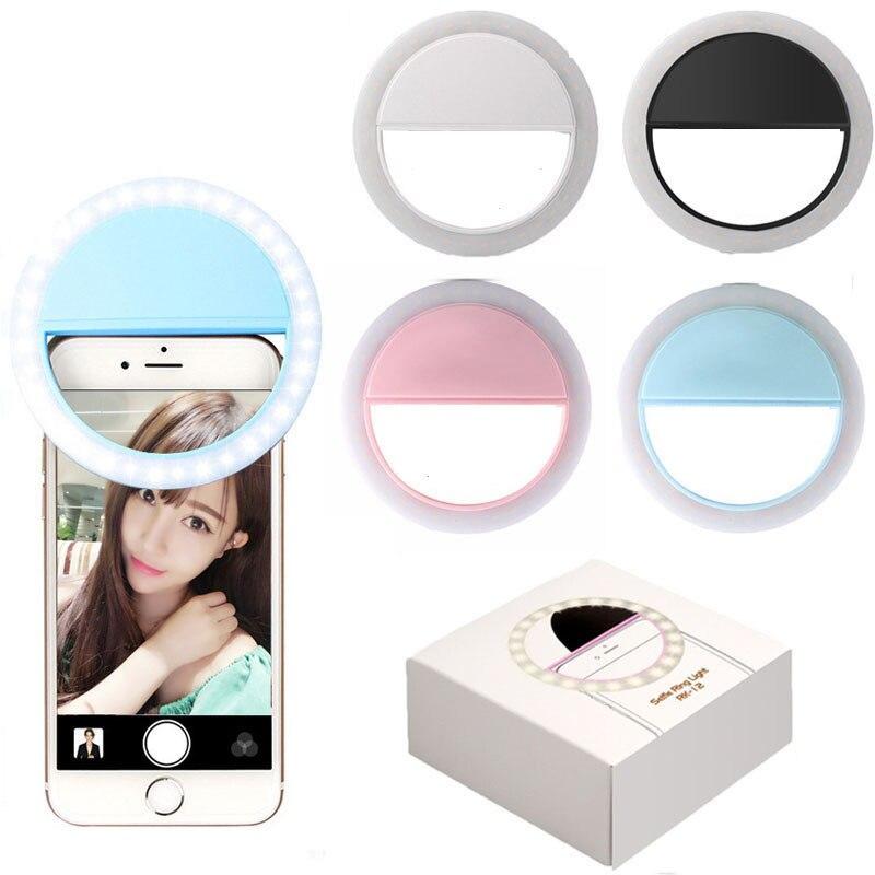 Luz de anel universal para smartphone, lâmpada de led para selfie, lente de celular, anel flash portátil, luz de anel luminoso para iphone, samsung, xiaomi