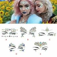 face gems rhinestone temporary tattoo jewels festival party body eyes glitter stickers flash mermaid temporary tattoos sticker