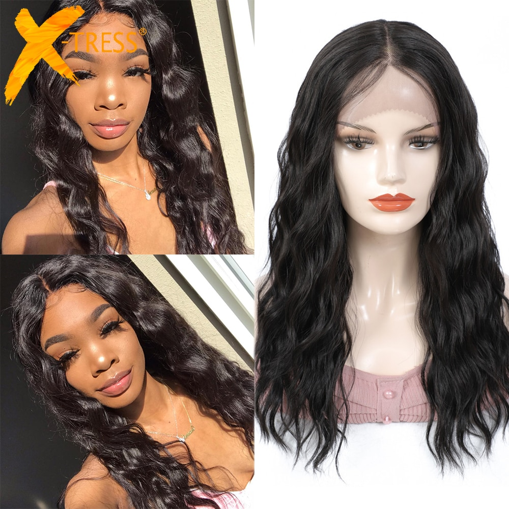 Lace Front Synthetic Hair Wigs 99J Blonde Color X-TRESS Medium Length 20inch Soft Natural Wave Trendy Lace Wig For Black Women