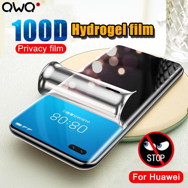 100D película de hidrogel de privacidad de cubierta completa para Huawei P40 P30 Pro Protector de pantalla Anti-peep para Huawei Mate 30 20 Pro Nove 7 30 película