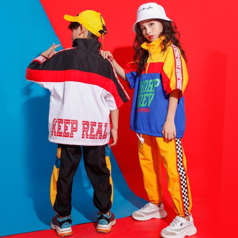 Moda de hip-hop para niños chaqueta de cuello alto suéter top pantalones...
