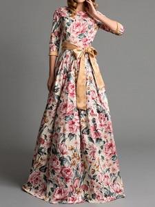 2020 New Women's Dresses Autumn and Winter Fashion Womens Jewel Long Sleeves Floor Length Dress Bohemian Floral Print Dress