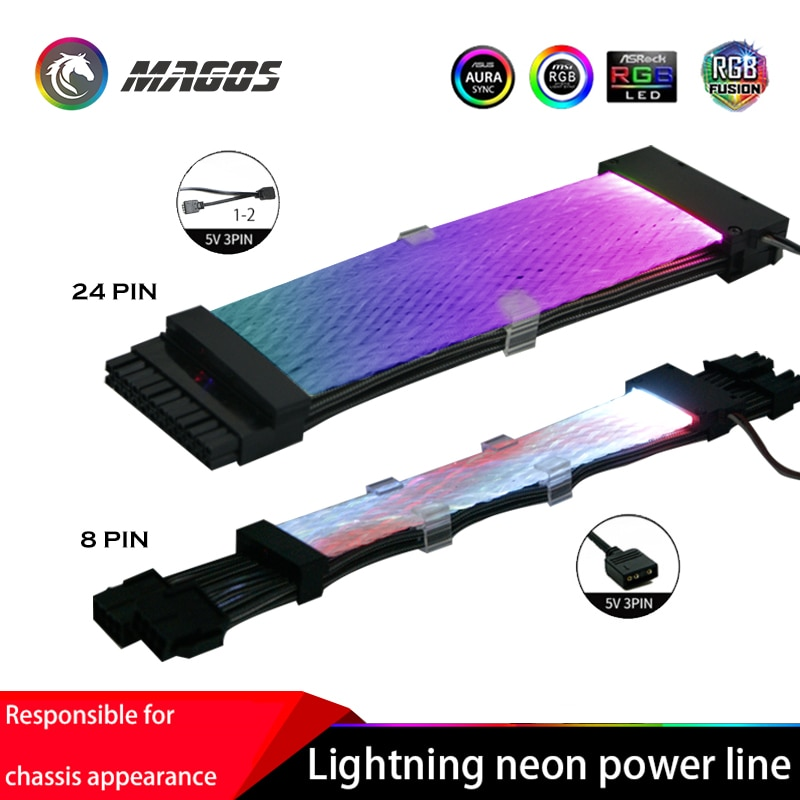 RGB قوس قزح كابل اللوحة 8P(8 + 8) وحدة معالجة الرسومات تمديد كابل ، 24PIN تمديد الحبل ، خط النيون دعم موبو AURA مزامنة 5 فولت A-RGB