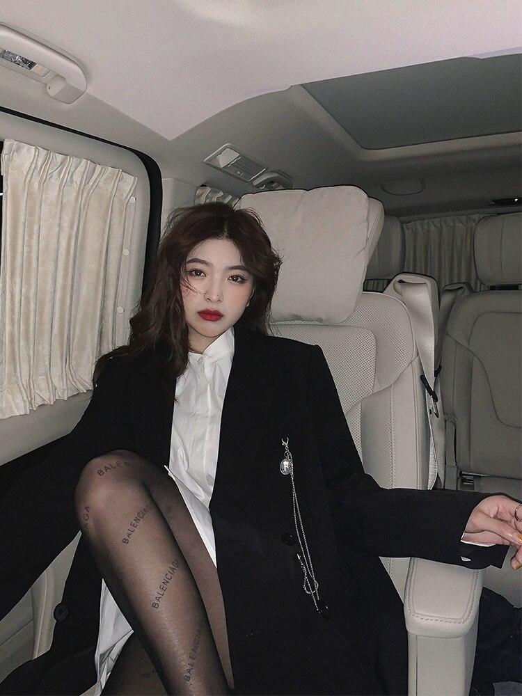 Women's Suits Party 2021 Autumn Black Suit Jacket Women's Design Sense Korean British Style Small Su
