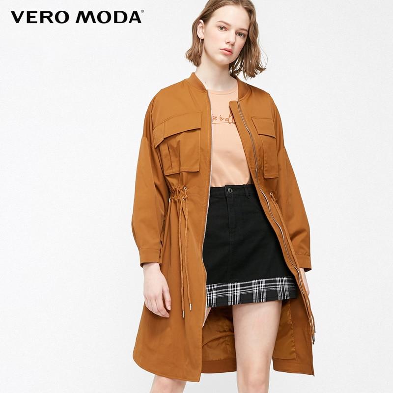 Vero moda feminino médio comprimento cintura cordão trench coat   319121542