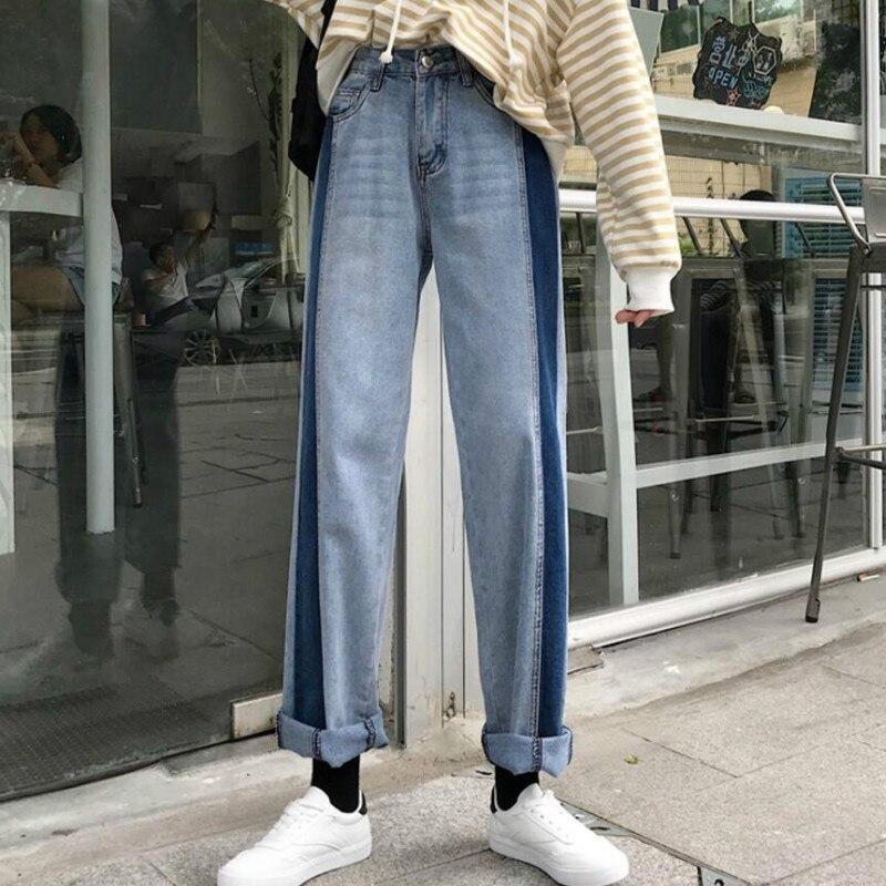 2020 New Vintage Contrast Color Blue Jeans Woman High Waist Wide Leg Jeans Femme Casual Vaqueros Mujer Denim Jeans Streetwear