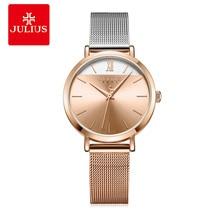 New Hit Color Julius Women's Watch Japan Mov't Hours Elegant Fashion Clock Stainless Steel Metal Bracelet Girl's Gift Box