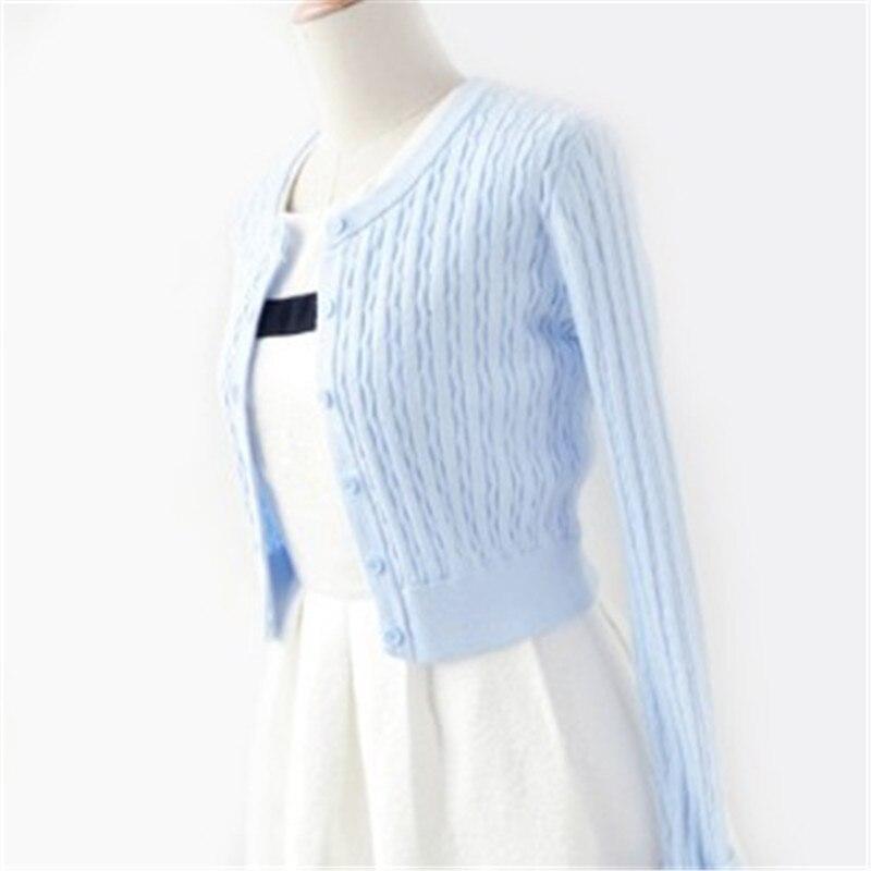 Primavera suéteres de diseño corto trenzado de Raya vertical para mujer cárdigan prendas de vestir exteriores Jersey de punto de manga larga abrigo corto femenino