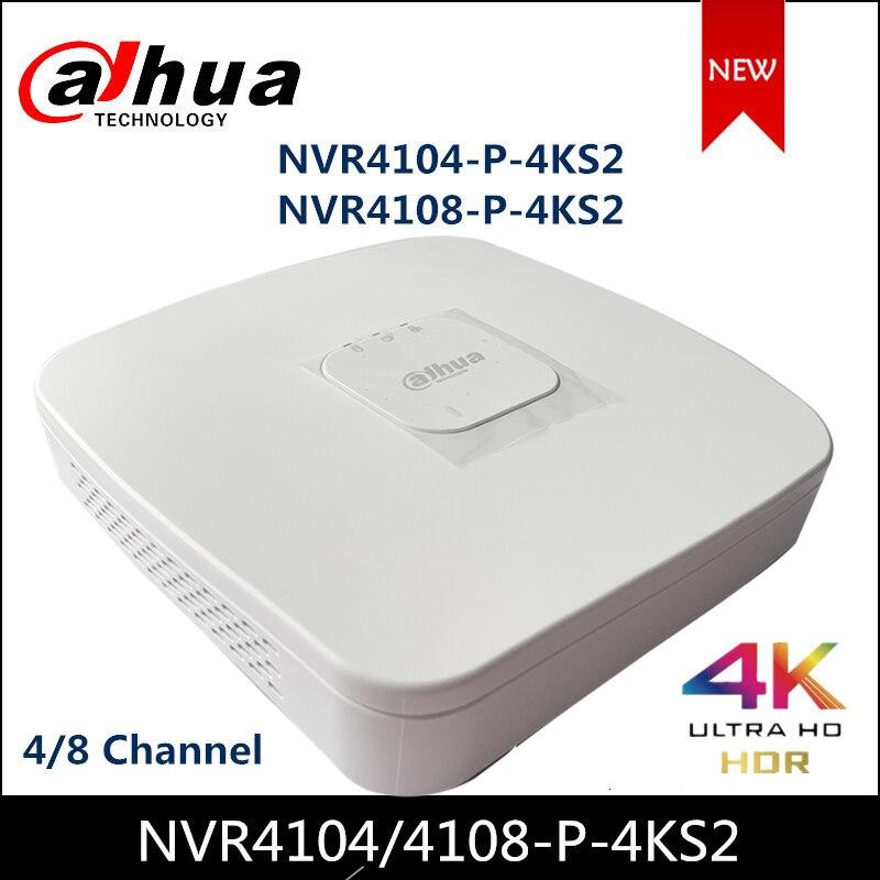 داهوا POE NVR NVR4104-P-4KS2 NVR4108-P-4KS2 4/8 قناة الذكية 1U 4PoE 4K و H.265 لايت شبكة مسجل فيديو