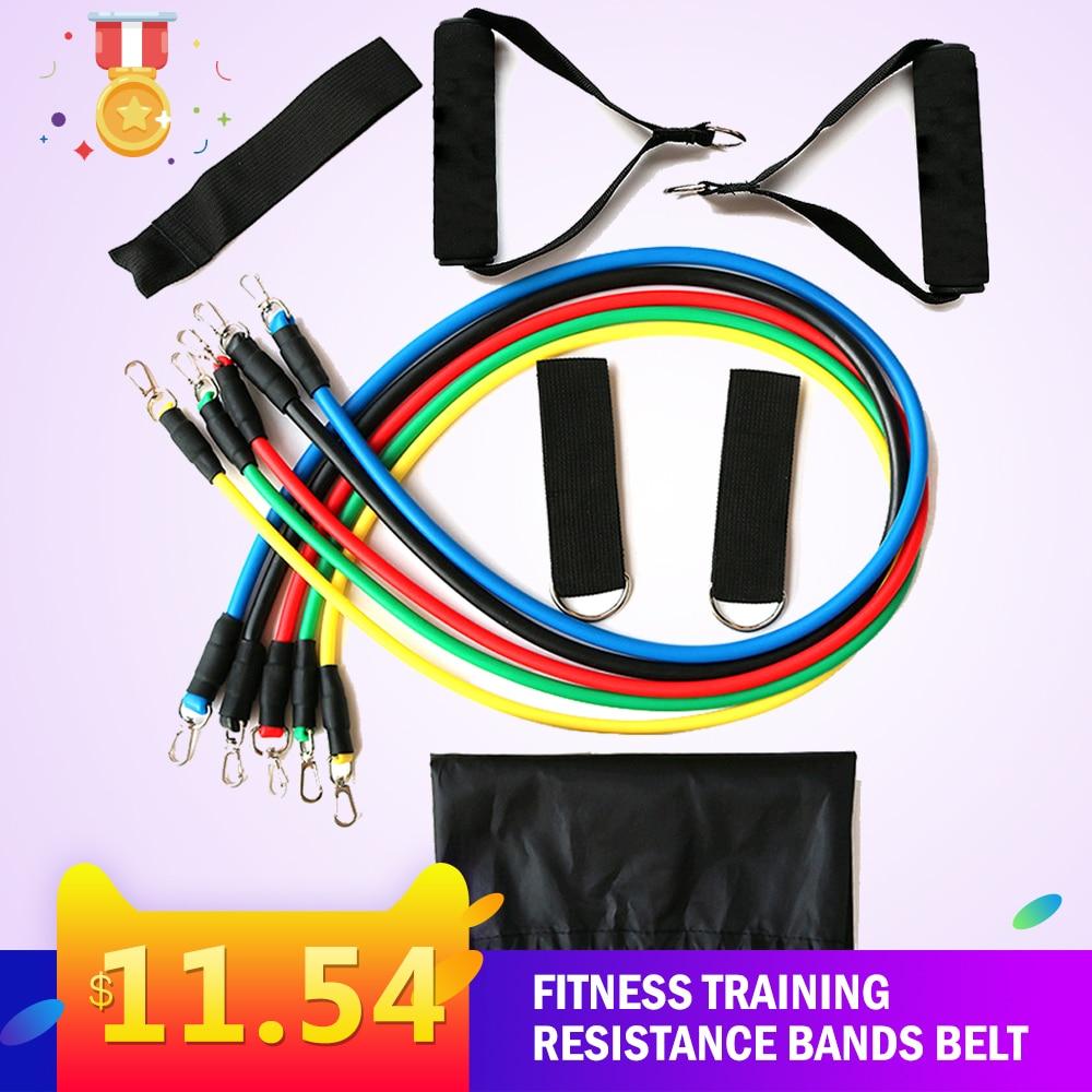 Fitness extractor 11 piezas conjunto de Multi-funcional muscular entrenamiento de Yoga cuerda fuerza correas de resistencia para entrenamiento cinturón deporte casa
