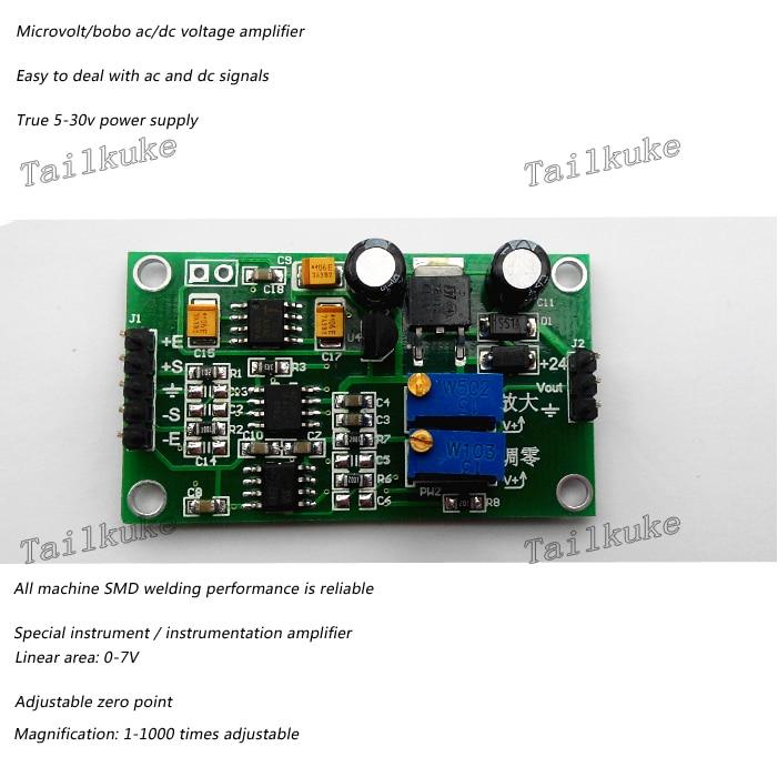 Amplificador de voltaje de microvoltios/milivoltios, amplificador de señal diferencial de alta precisión, transmisor de conversión AD620
