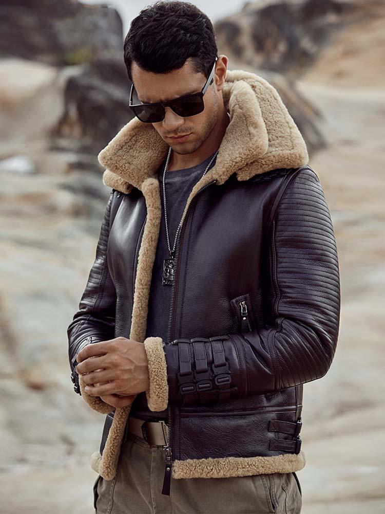 جديد شيرلينغ معطف رجالي B3 جاكيت منفوخ قصير معطف الفرو البني سترة جلدية للدراجات النارية سترة معطف جلد الغنم الطبيعي