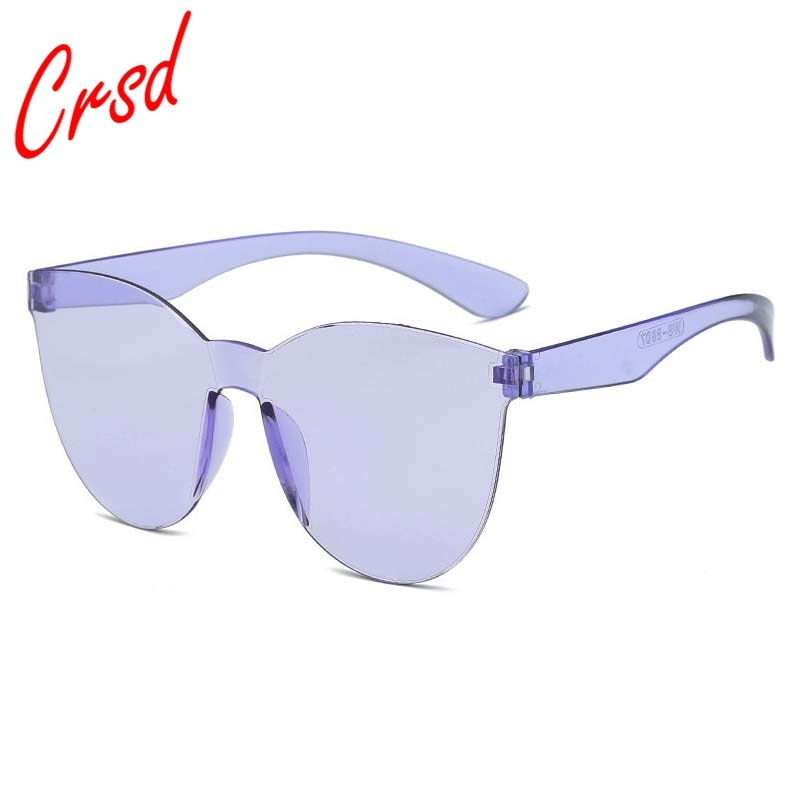 CRSD 2020 Oversized Square Sunglasses Women Frameless Candy Color Colorful Glasses UV400 Driving Sun
