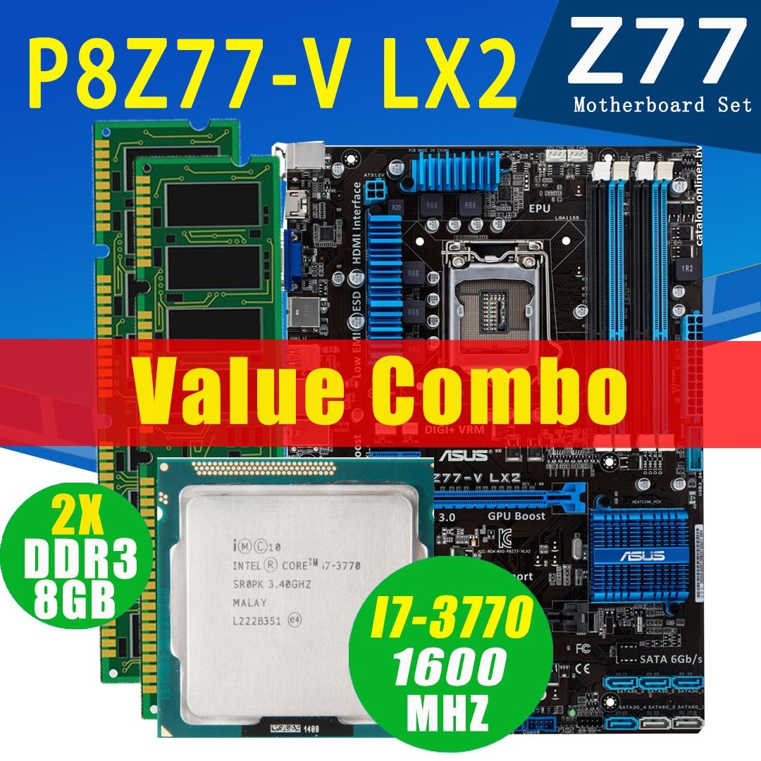 Asus P8Z77-V LX2 اللوحة مع إنتل كور i7 3770 2x8 جيجابايت DDR3 اللوحة مجموعة LGA 1155 DDR3 3.4GHz Z77 اللوحة مجموعة المستخدمة