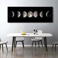 Affiches murales dart de Phase de lune noir blanc  toile dart declipse de lune  impression de peinture abstraite  image murale pour salon  decoration de maison