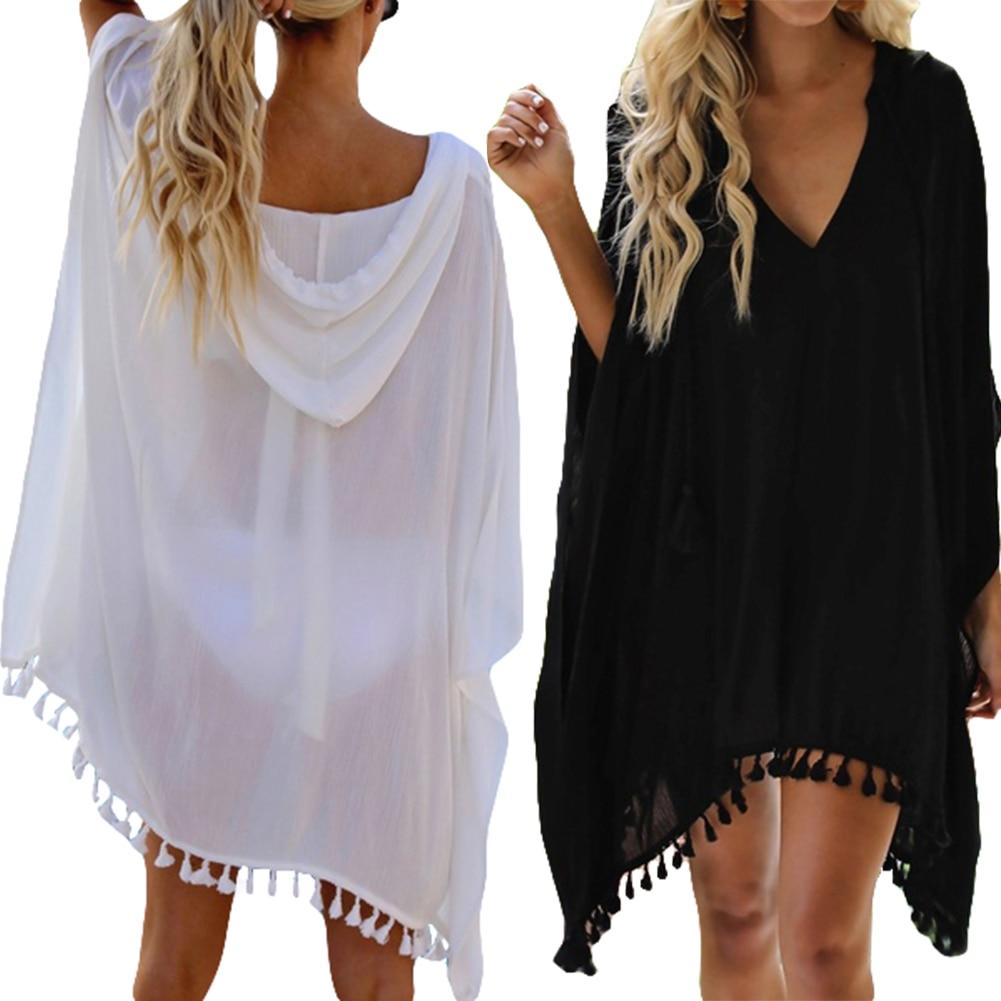 2020 verano mujeres Boho transparente playa vestido Bikini cubrir borla gasa Mini blanco con capucha negro Sundress playa Cover-Up