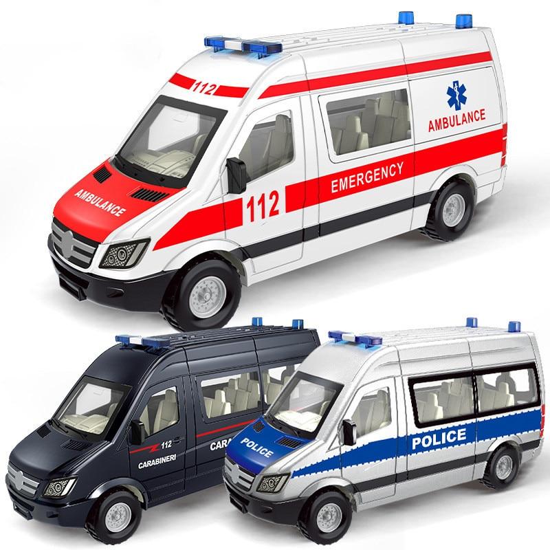 Ambulancia de aleación de plástico, juguete de emergencia, coche de policía, modelo de coche, puerta abierta, Ambulancia, juguetes educativos para niños