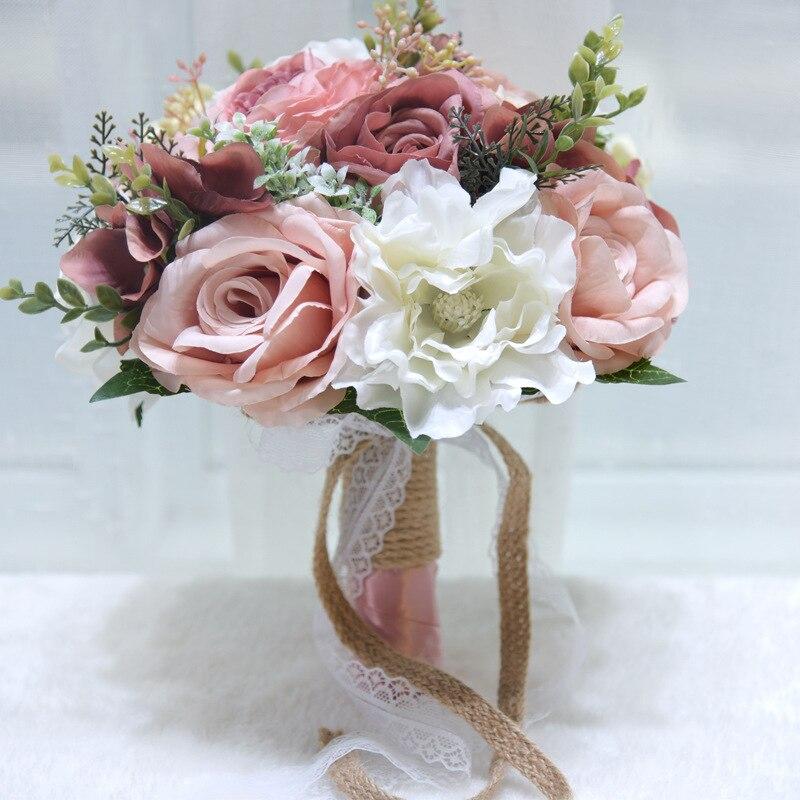 Ramo de flores de peonía Rosa artificiales para novia dama de honor, ramo de novia hecho a mano, ramo de novia de seda con flores para sujeción PH041