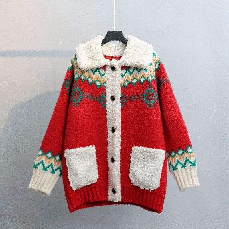 Осенне-зимние вязаные кардиганы с V-образным вырезом, женские однобортные свободные свитера с принтом, женские повседневные кардиганы, вяза...