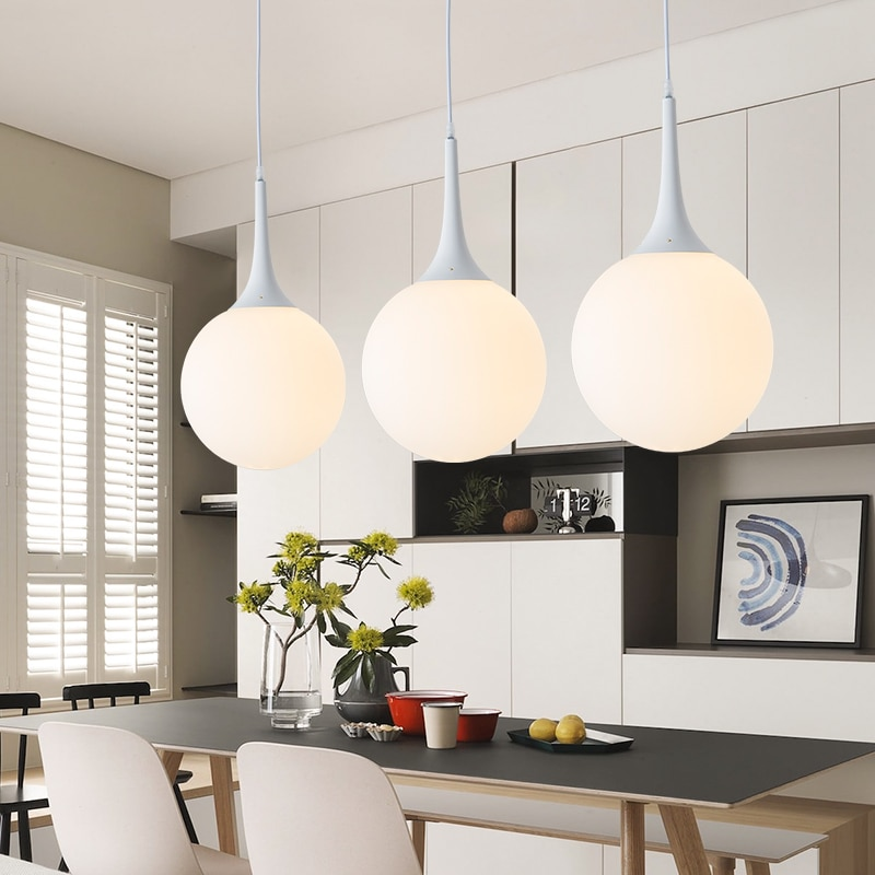 كرة زجاجية بيضاء مستديرة معدنية LED الثريا الحديثة المعاصرة الديكور الداخلي لغرفة النوم المعيشة RoomLoft مدخل المطبخ