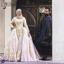 Modest Muslim 2 Pieces Mermaid Evening Dresses High Collar Full Sleeves Lace Prom Prom Detachable Train Vestido De Noiva