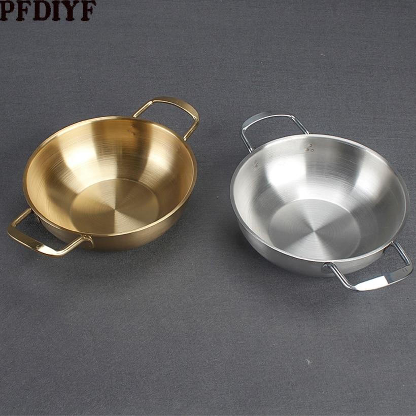 Olla Ramen de acero inoxidable 20cm olla dorada de mariscos olla caliente de cangrejo wok pequeño cacerola de Sopa clara olla de cocina