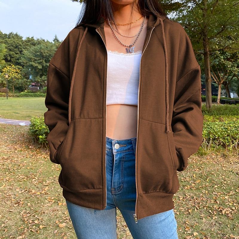 Brown Zip Up Hooded Sweatshirts Women 2021 Vintage Pockets Oversized Jacket Coat Autumn Female Y2K Aesthetic Long Sleeve Hoodie