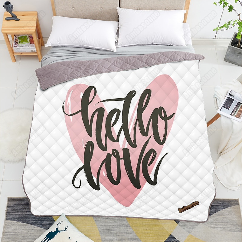 Unique Lettering Print on Demand Quilt Queen Size Kids Adult Blankets for Beds Sofa Warm Camping Quilts Boho Home Decor
