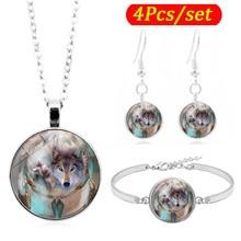 Dreamcatcher Wolf Photo Glass Cabochon Fashion Jewelry Set Silver Necklace Bracelet Earring Jewelry Sets for Women