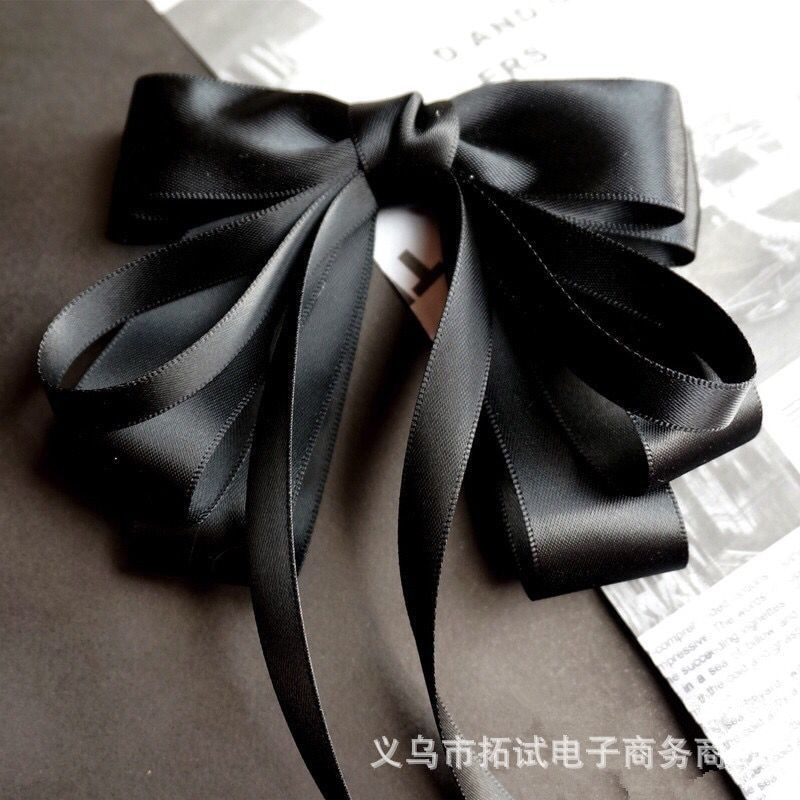 Ladies Spring New Solid Color Hair Clips Bangs Clip Japanese and Korean Fabrics Solid Color Big Bow Hairpin Duckbill Clip HDJ001