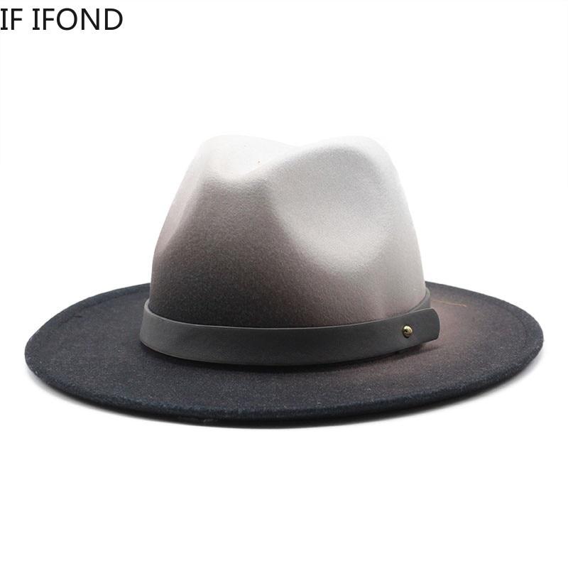 Men Women Winter Hat Two-color gradient Black Wide Brim Wool Felt Jazz Fedora Hats British Style Tri
