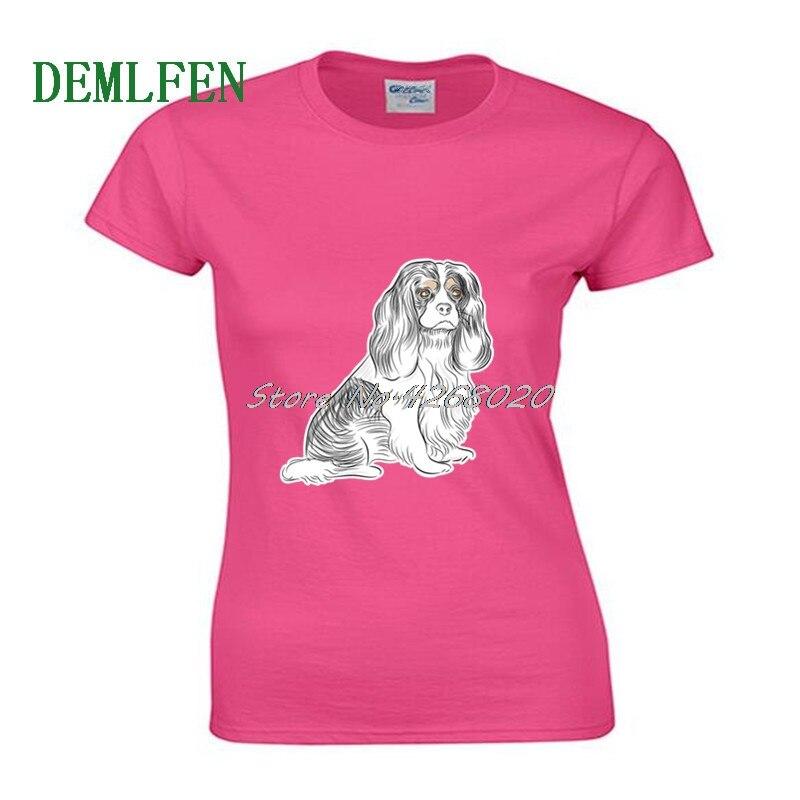Camiseta de manga corta de algodón para mujer con estampado de perro de Cavalier King Charly Spaniel camiseta Cool Tees Girl Shirts Streetwear