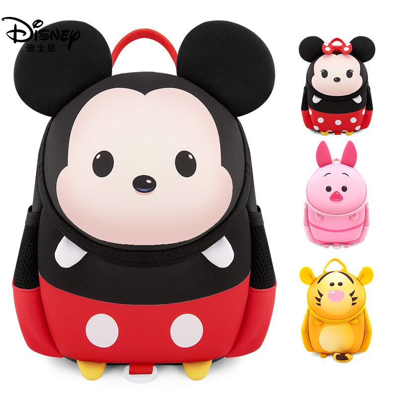 Authentic Disney Kindergarten Schoolbag Girl 3-6 Years Old Boy Anti-lost Cute Mickey Children Backpack Small Class Kids Bags
