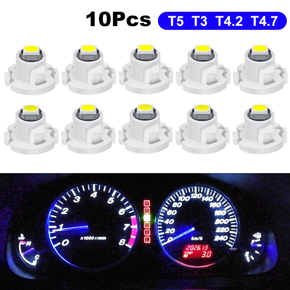 Светодиодная Автомобильная лампочка 10X T5 T3 T4.2 T4.7, 12 В